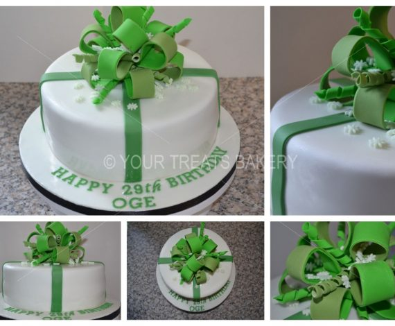 Green Bow Explosion Cake