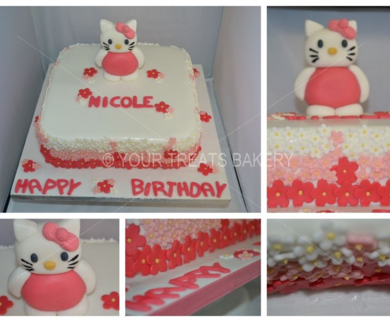 Hello Kitty Flowers Cake