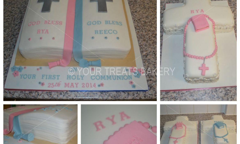 Twin Cross Christening Cake