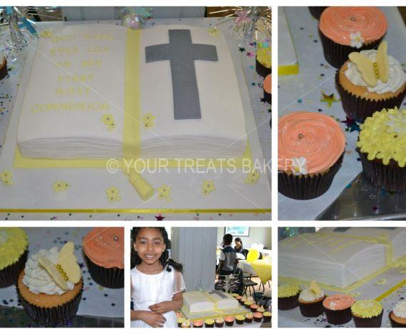 Yellow Pastel Chistening Cake