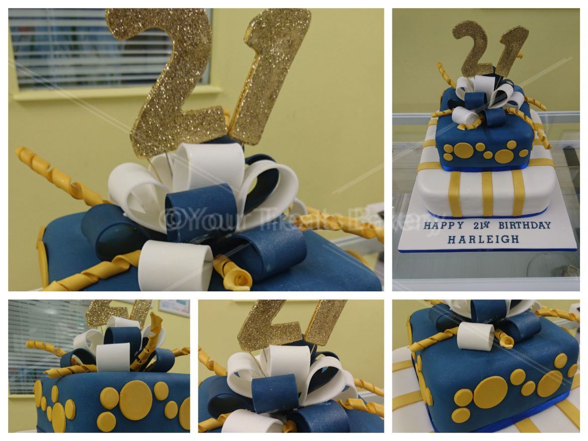 Blue Gold Bow Cake