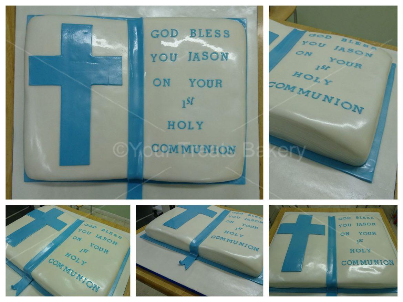 Blue Bible Christening Cake