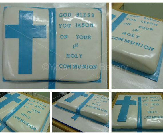 Blue Bible Christening Cake