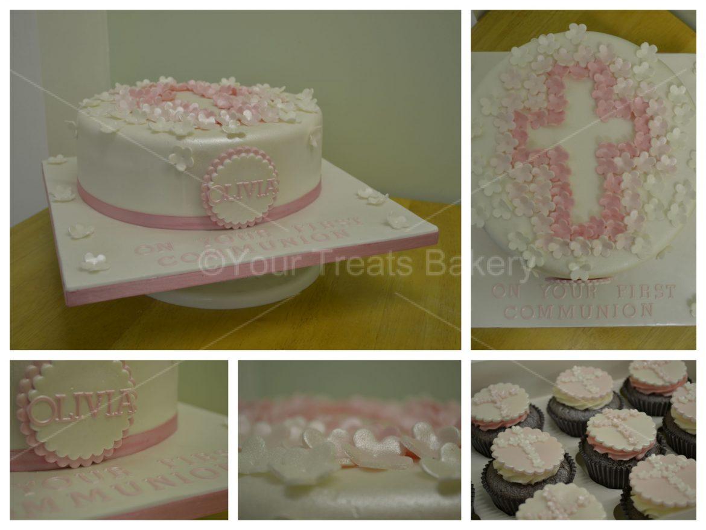Flower Cross Christening Cake