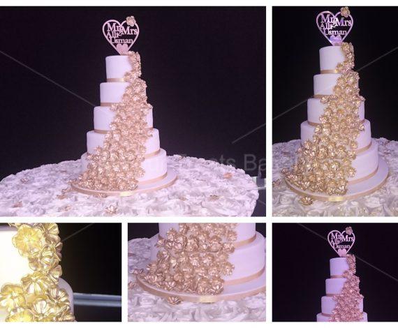 Gold Blossoms Wedding Cake