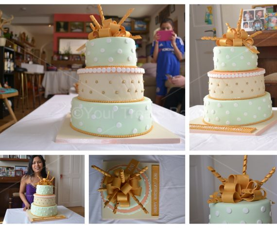 Gold Pastel Bow Cake