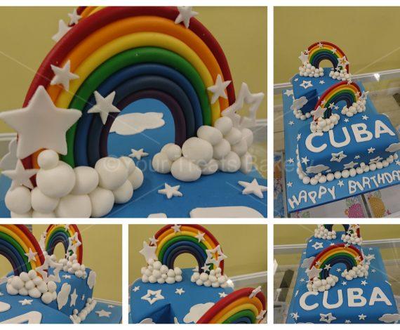 Number 1 Rainbow Stars Cake