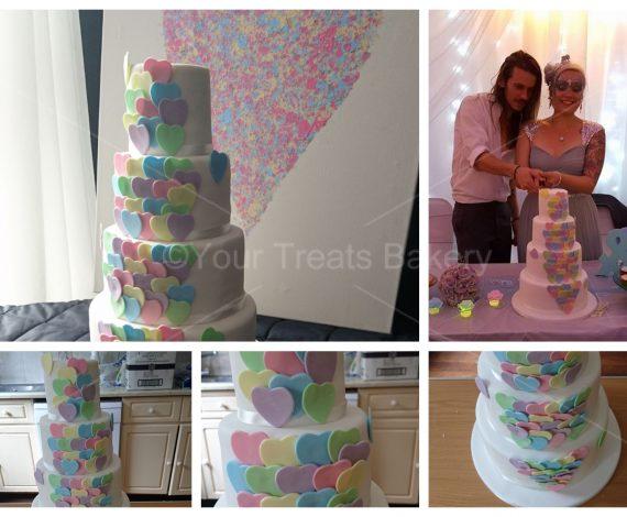 Pastel Hearts Wedding Cake