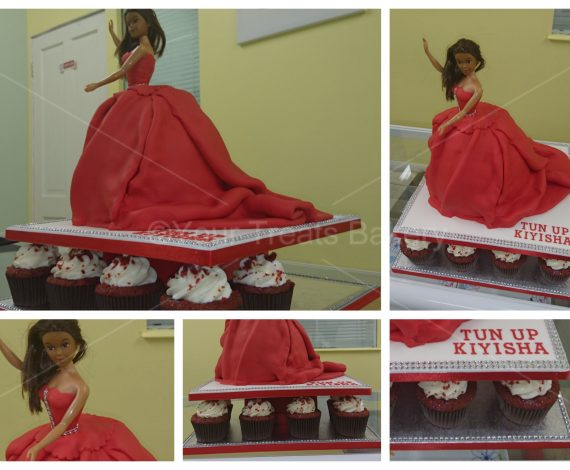 Red Princess Dress Cake
