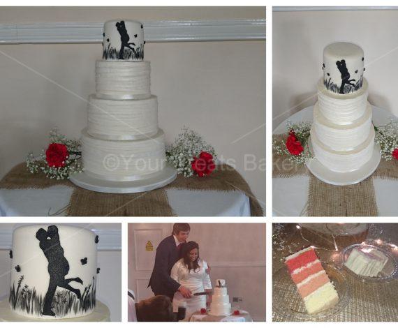 Silhouette Kissing Wedding Cake