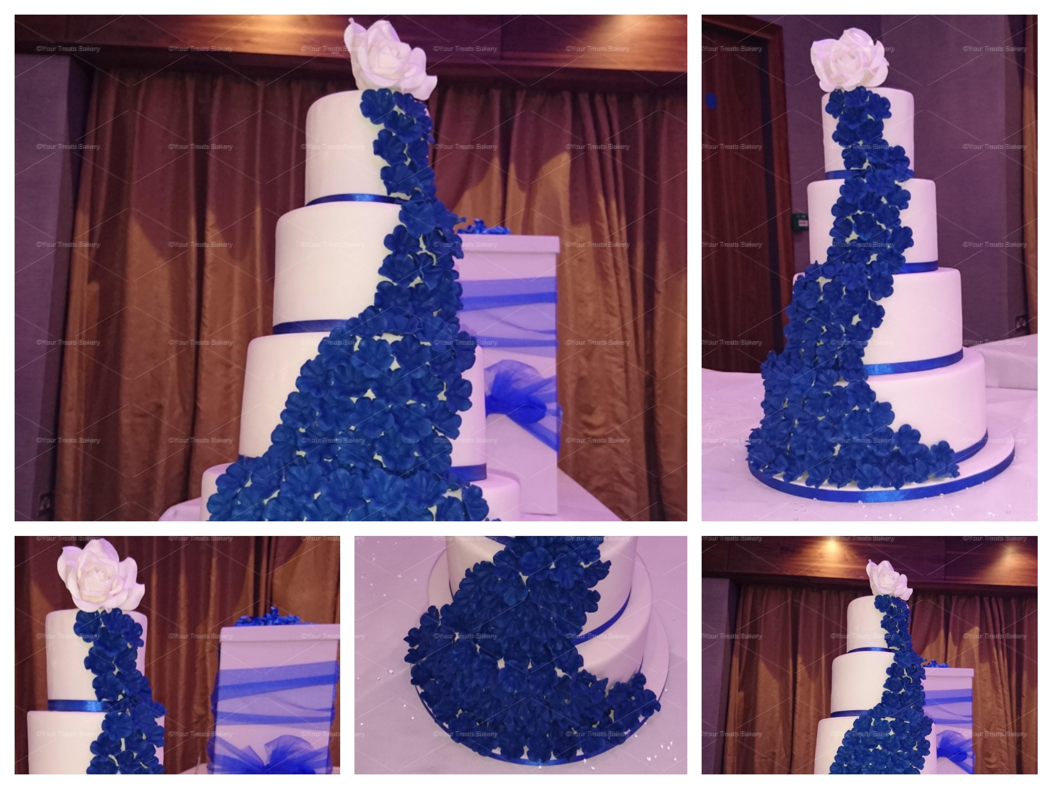 Blue Cascading Elegance Wedding Cake Your Treats Bakery